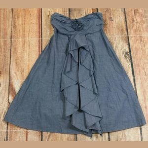 J Crew Denim Color Strapless Dress Size 0 Ruffled